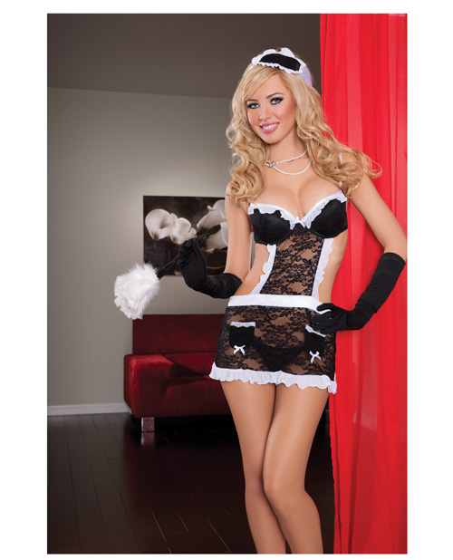 fantasy maid underwire cup lace apron w/headpiece & thong
