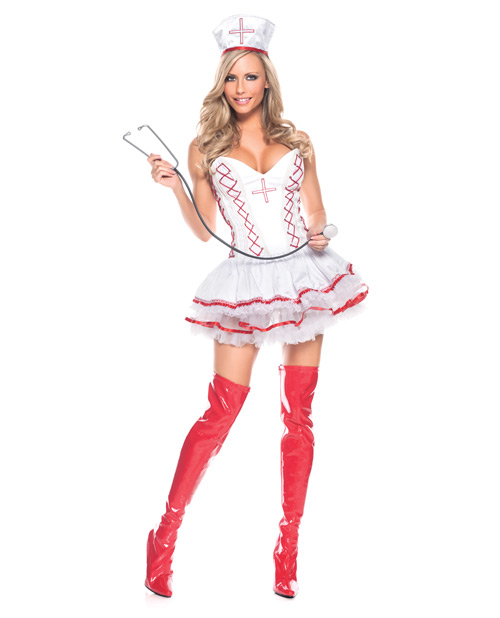 home care nurse bustier w/attached skirt, hat & stethoscope white