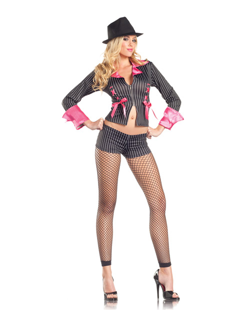 2 pc sexy pimpette long sleeved jacket & shorts black