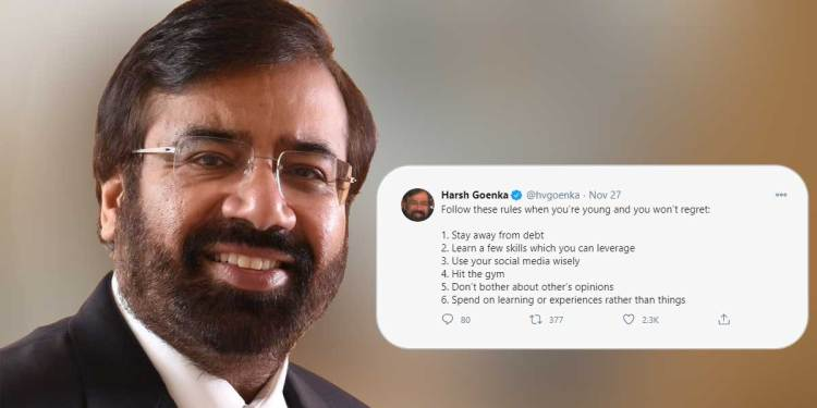 Harsh Goenka shares some reliable tips for the young generation on Twitter