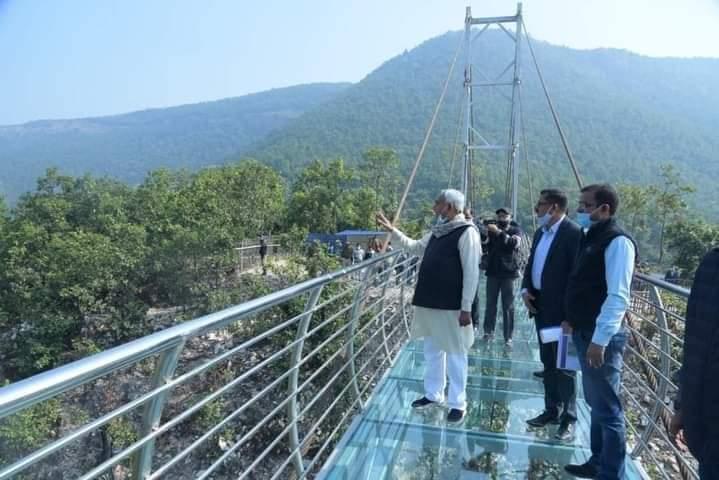 CM Nitish Kumar inspecting glass sky walk bridge in Rajgir, Bihar