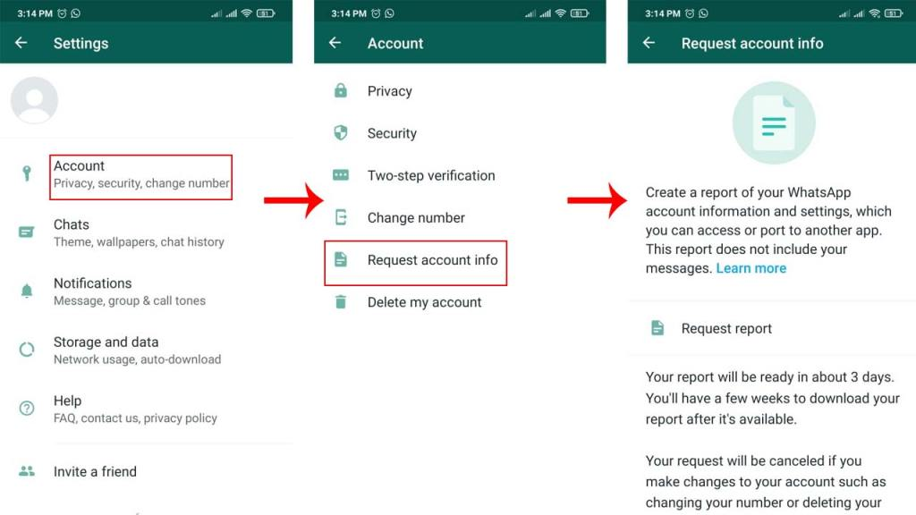 Request Account Info Feature In WhatsApp