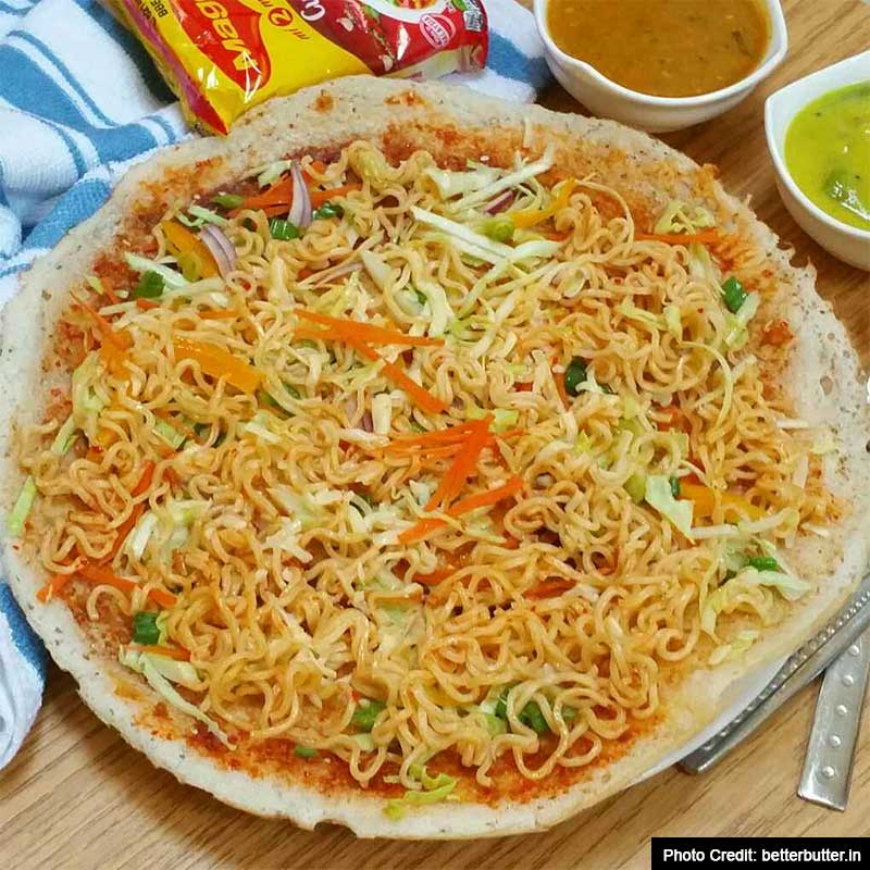 Easy to cook Simple Recipes On Valentine's Day.: Instant noodles cheese dosa