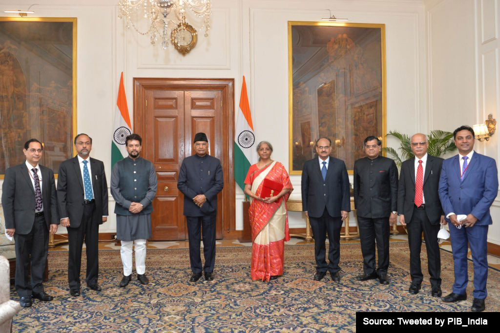 Union Finance Minister Nirmala Sitharaman with President Ram Nath Kovind at Rashtrapati Bhavan, before the presentation of Union Budget 2021-22 in the Parliament today