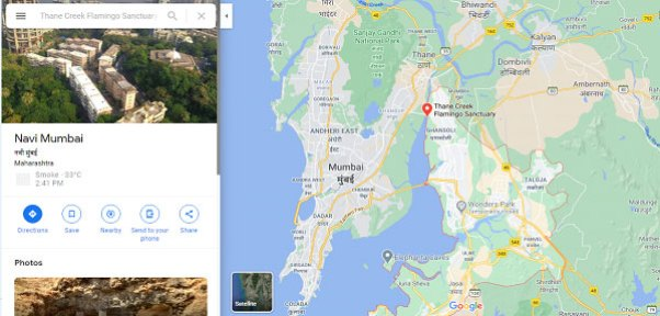the outlined area is of Navi Mumbai and the pinned point is showing Thane Creek Flamingo Sanctuary