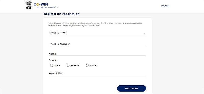 Register valid ID proof for vaccine registeration