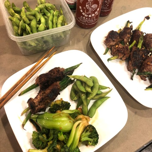 Asian Beef Kebab with Bok Choy and Brocolli