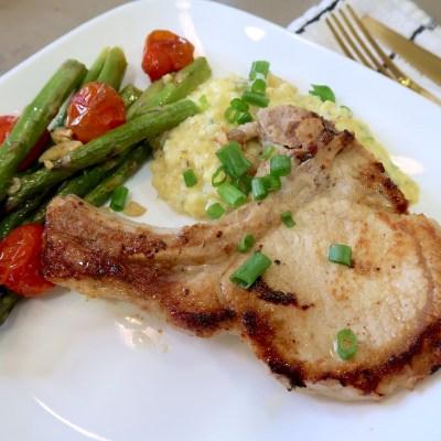 Keto Recipe | Dijon Pork Chops with Cheddar, Green Onion Cauliflower Mash & Roast Asparagus