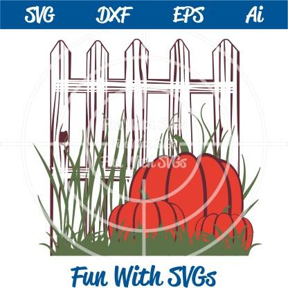 harvest pumpkins and fence svg image