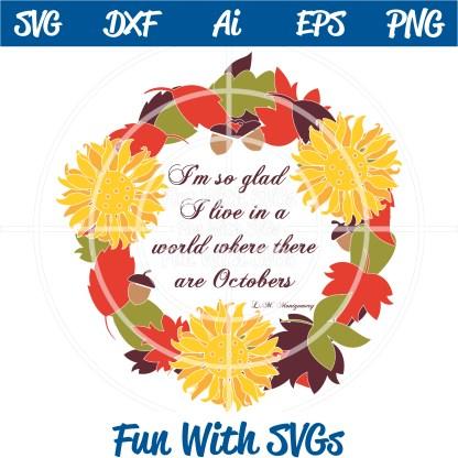 Fall Wreath SVG DIY Monogram Image