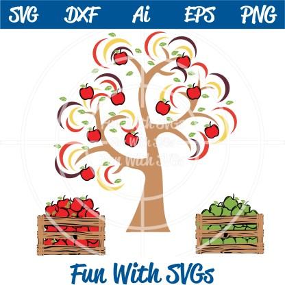 Harvest Farm Apple Tree and Crates SVG Image