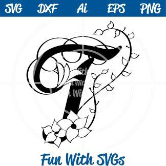 Letter T Monogram SVG File