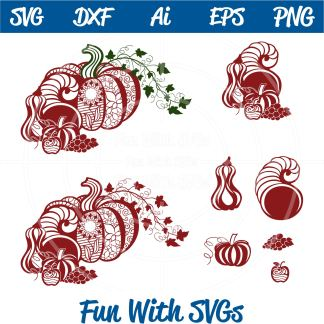 Zentangle Pumpkin Cornucopia SVG, Image
