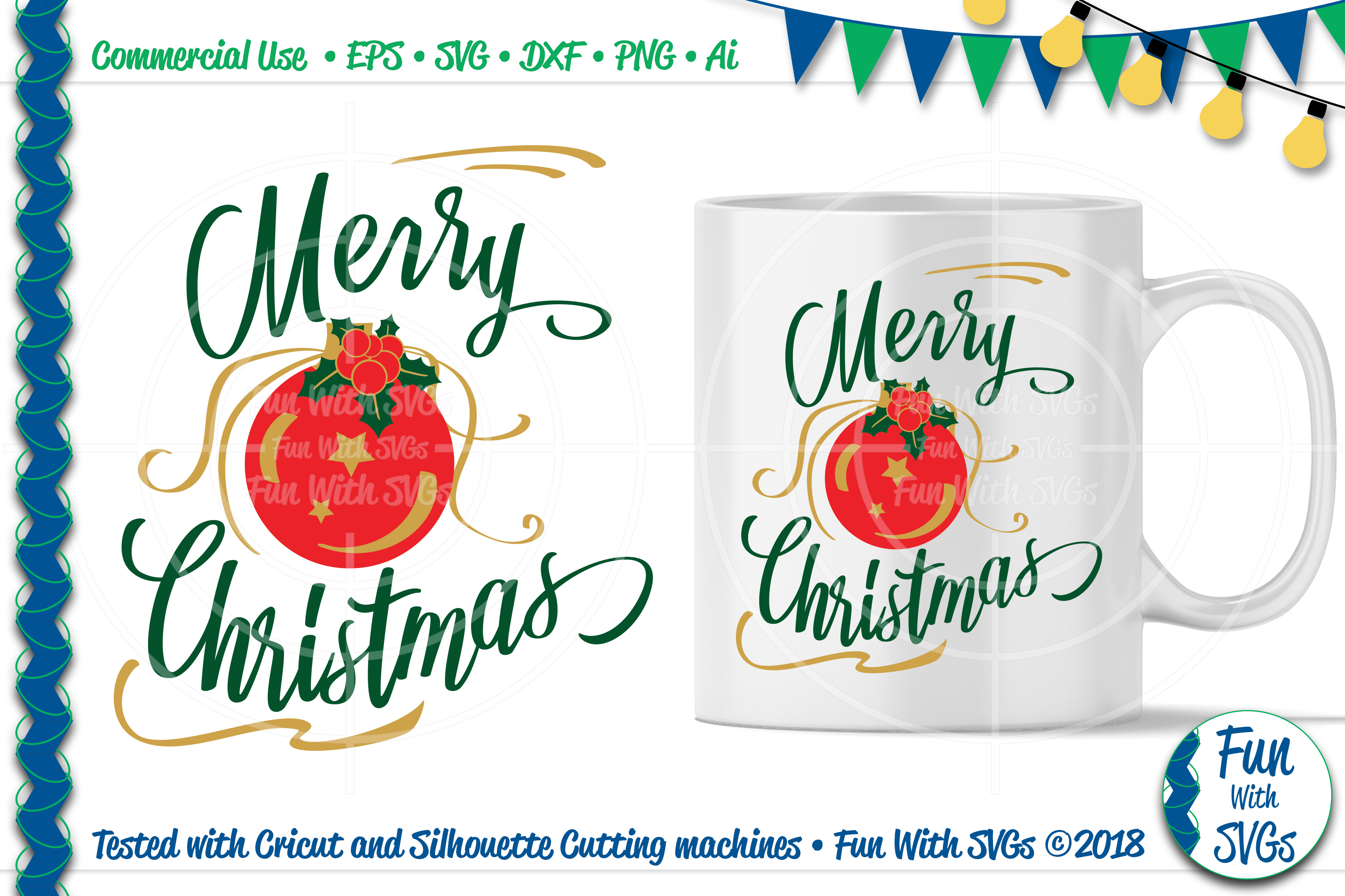 Merry Christmas Ornament Svg.Merry Christmas Svg Ornament With Holly