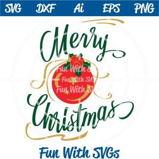 Ornament With Holly SVG Image