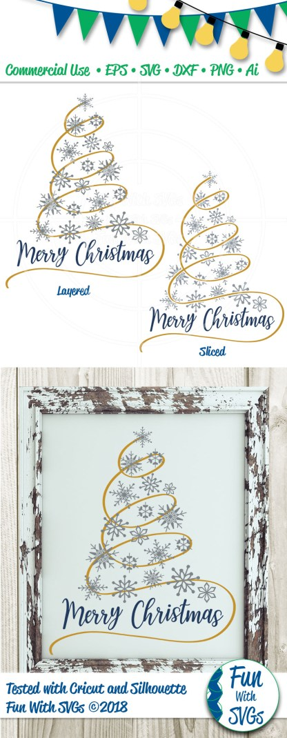 Snowflake Christmas Tree Pinterest SVG Image