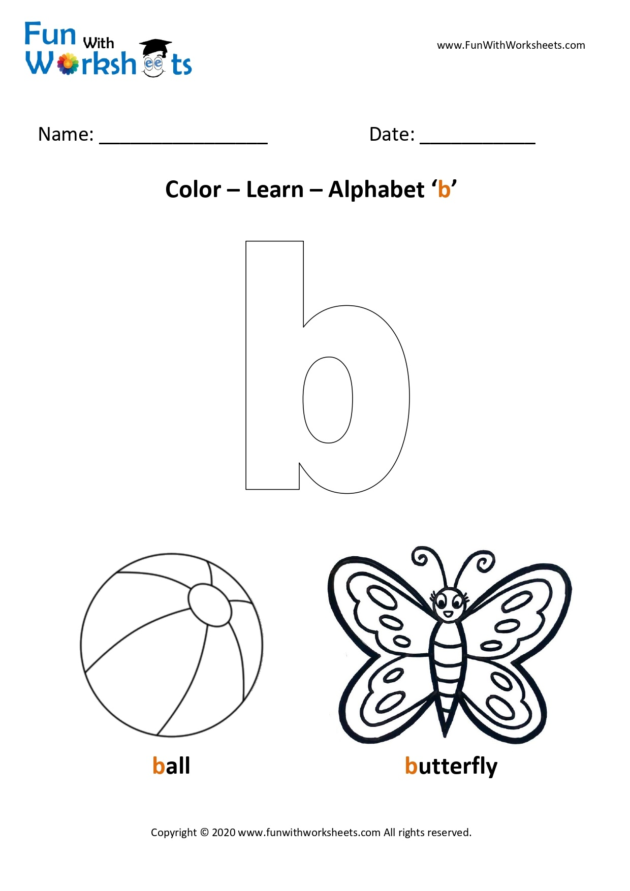 Color And Learn Small Alphabets Letter B