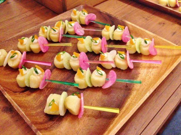 キタアカリのニョッキと野菜のピンチョス