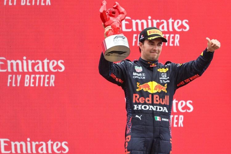 """Sergio """"Checo"""" Perez sul podio del GP di Francia"""