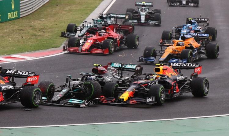 Perez coinvolto nell'incidente al primo giro del GP di Ungheria. Da stimare i danni sulla sua PU
