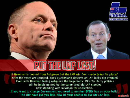 Image: On #QLDvotes Jan 31, 2015 - a vote for Campbell Newman endorses Tony Abbott. Send a strong message to Canberra, number every box and put the LNP last!