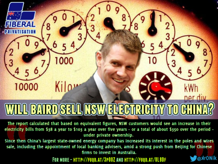 Image: Baird will privatise NSW electricity assets to Chinese Government