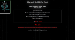 Screenshot of hacked home page