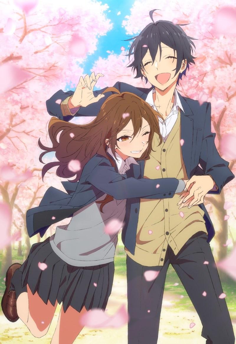 Kyoko Hori et Izumi Miyamura qui s'enlacent dans l'anime Horimiya