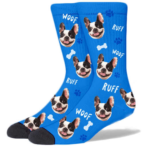 FurbabySocks Custom Blue Dog Socks