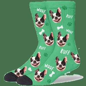 FurbabySocks Custom Green Dog Socks