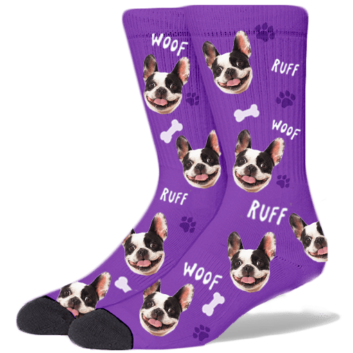 FurbabySocks Custom Purple Dog Socks