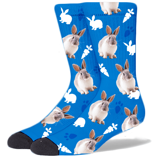 FurbabySocks Custom Blue Rabbit Socks