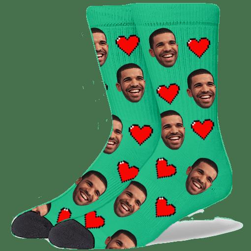FurbabySocks Custom Green Heart Socks