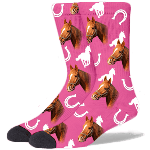 FurbabySocks Custom Pink Horse Socks
