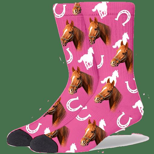 FurbabySocks Custom Pink Horse Socks