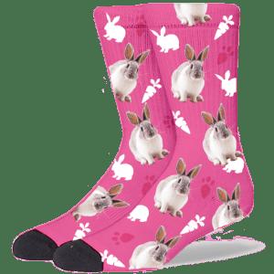 FurbabySocks Custom Pink Rabbit Socks