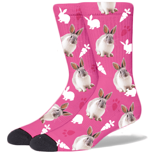 FurbabySocks Custom Pink Rabbit Socks
