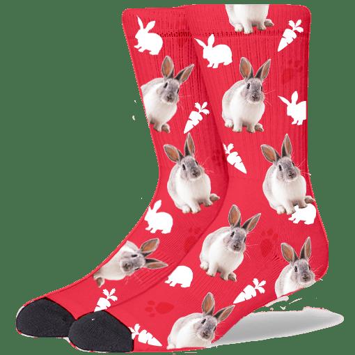 FurbabySocks Custom-Red Rabbit Socks