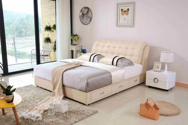 A8650-high quality upholstered leather king bed made by china luxury and modern furniture factory and company-furbyme