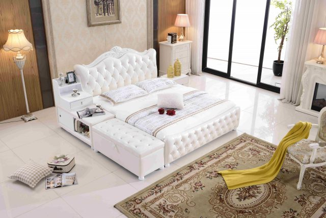 A8788-high quality upholstered leather king bed made by china luxury and modern furniture factory and company-furbyme