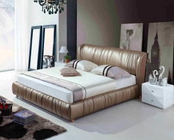 A8836-high quality upholstered leather king bed made by china luxury and modern furniture factory and company-furbyme