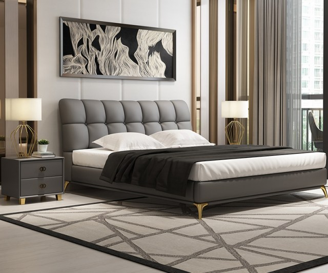 high quality upholstered leather king bed made by china luxury and modern furniture factory and company-furbyme