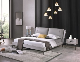 jxf6848 China Modern High End Luxury design Bedroom Furniture Double Bed Leather Bed Sleeping Bed