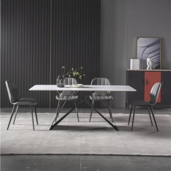 dkf704-china modern luxury home furniture metal slate mable top kitchen dining table supplier manufacturer factory company-furbyme (1)