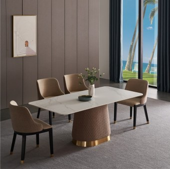 dkf709-china modern luxury home furniture metal slate mable top kitchen dining table supplier manufacturer factory company-furbyme (1)