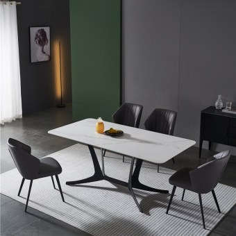 dkf713-china modern luxury home furniture metal slate mable top kitchen dining table supplier manufacturer factory company-furbyme (1)