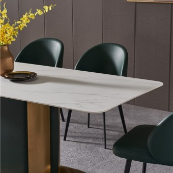 dkf721-china modern luxury home furniture metal slate mable top kitchen dining table supplier manufacturer factory company-furbyme (1)