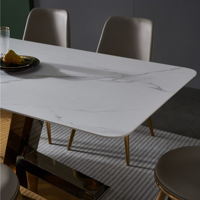 dkf722-china modern luxury home furniture metal slate mable top kitchen dining table supplier manufacturer factory company-furbyme (1)