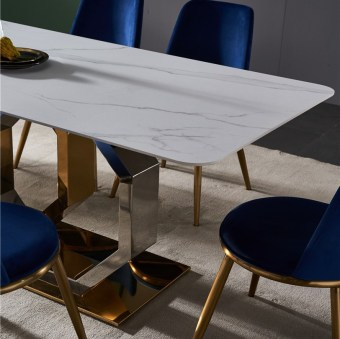 dkf723-china modern luxury home furniture metal slate mable top kitchen dining table supplier manufacturer factory company-furbyme (1)