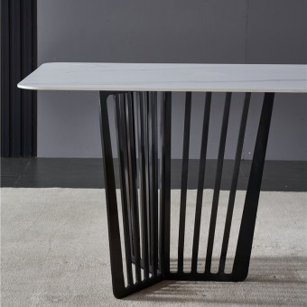 dkf743-china modern luxury home furniture metal slate mable top kitchen dining table supplier manufacturer factory company-furbyme (1)